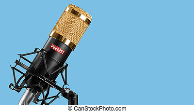 microphone isolated on blue background. Podcast concept