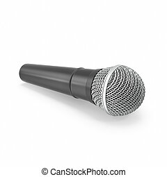 Microphone isolated on white background with shadow.