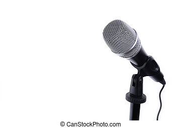 Microphone isolated on white with copy space