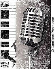 microphone, jazz, fond