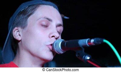 microphone, jeune, vivant, par, chant, chanteur, étape