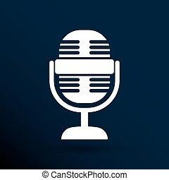 microphone, journaliste, isolé, radiodiffusion, icône, ...