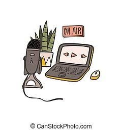 microphone., klotter, oavgjord, podcast, illustration, ...