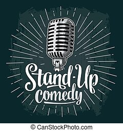 microphone., lettered, tekst, stand-up, comedy., ouderwetse , vector, gravure, illustratie