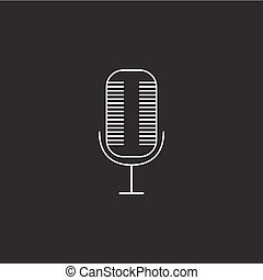 microphone line icon, outline vector logo