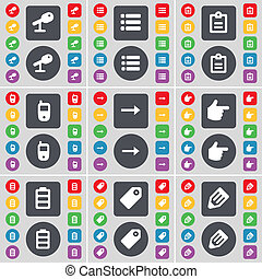 Microphone, List, Survey, Mobile phone, Arrow right, Hand, Battery, Tag, Pencil icon symbol. A large set of flat, colored buttons for your design.