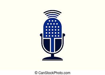 microphone logo vector icon concept