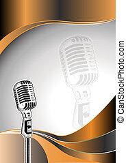 microphone, métal, fond