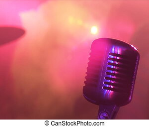 Microphone, colour lights, rock Concert.