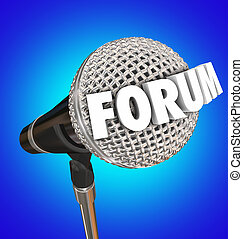 microphone, mot, réaction, forum, ouvert, discussion, part,...