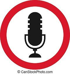 microphone, non, signe, signe., illustration, enregistrement, vecteur, icône
