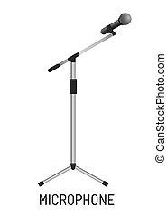 microphone, objet, isolé, appareil de contrôle, studio, musique