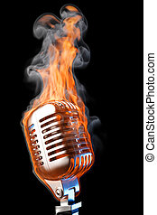 old mic in flames. isolated on black.