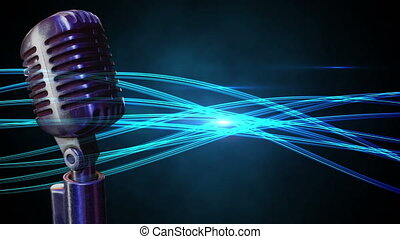 Microphone on a blue background