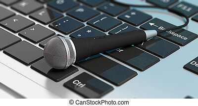Microphone on a computer keyboard. 3d illustration