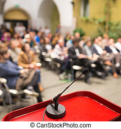 Event. - Microphone on a Podium Desk at Business Event. ...