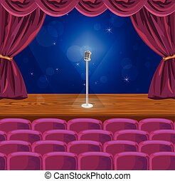 Microphone on a stage Vector