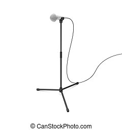 Microphone on a stand - Modern microphone on a black stand