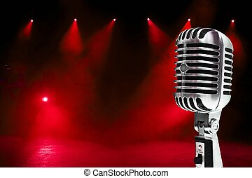 Microphone On Colorful Background - A retro, 60's style, ...
