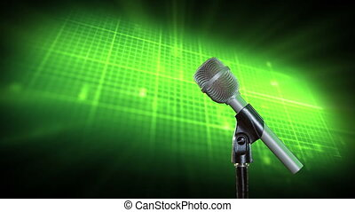 Microphone on green background