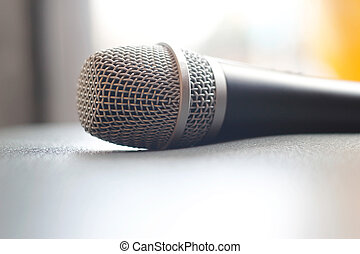 Microphone on grunge texture background