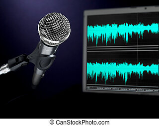 Microphone on recording studio. - A dynamic microphone and a...