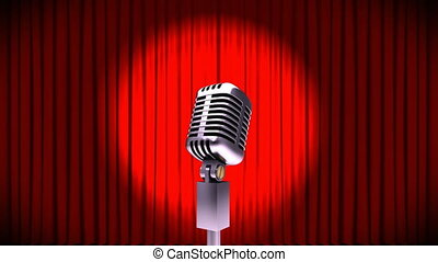Microphone on red curtains
