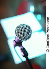 microphone on scene close up