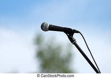 microphone on sky background