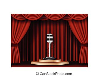microphone on stage curtain.