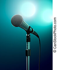 Microphone on stage with turquoise stage lights.