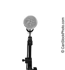 Microphone on stand cutout, isolated on white background