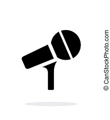 Microphone on stand icon on white background.