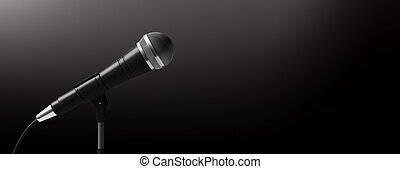 Microphone on stand isolated on black background, banner, ...