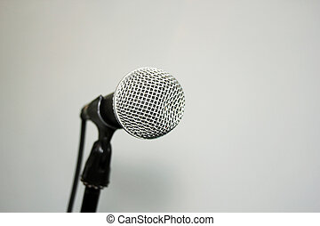 Microphone on stand  white background with copy space