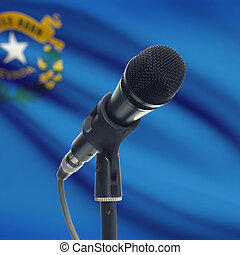 Microphone with US states flags on background series - Nevada