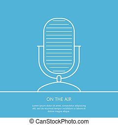 Microphone on the air outline background. Minimalism. Eps10. Vector illustration.