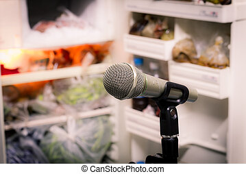 microphone on the background of blurred open refrigerator. soft focus .shallow depth of field. Vintage style and filtered process