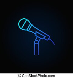 Microphone on the stand vector blue line icon or symbol -...