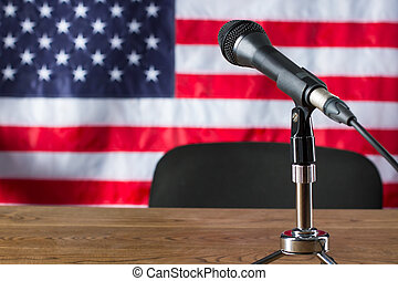 Microphone on USA flag background.