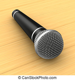 microphone on wooden table. 3D illustration