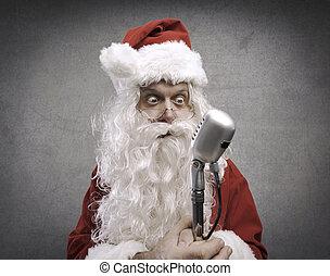 microphone, paniqué, claus, santa, tenue