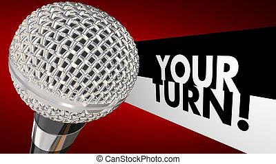 microphone, part, haut, illustration, idées, virage, opinion, parler, ton, parler, 3d