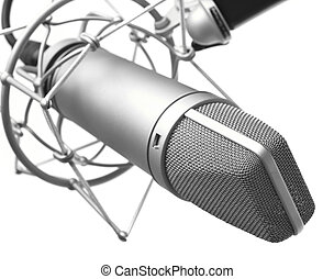 microphone - closeup of vintage microphone on white...