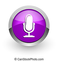 microphone pink glossy web icon