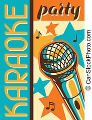 microphone, poster., banner., style, illustration, événement, musique, retro, fête, karaoke