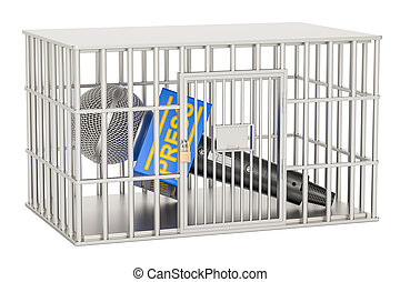 Microphone press inside cage, prison cell. Freedom of the press prohibition concept. 3D rendering