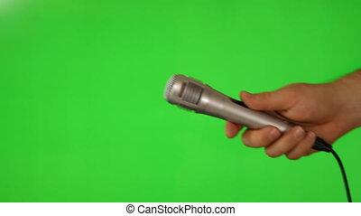 microphone, prise, vert, écran, main