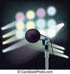 microphone, résumé, fond, étape