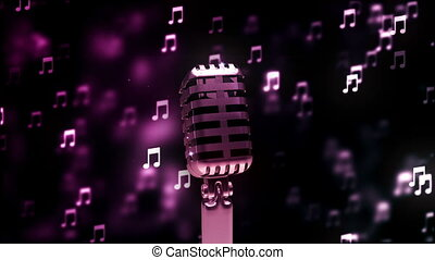 microphone, résumé, loopable, retro, fond, gentil